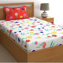 Dreamscape 180TC Twill Red Floral Single Bedsheets, red, single