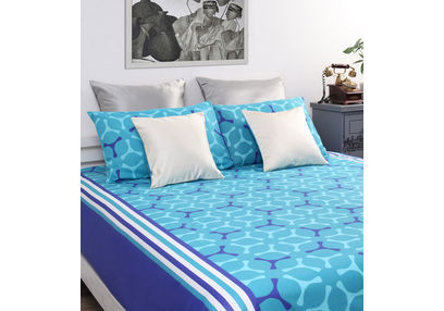 Home Ecstasy 100% Cotton 140TC One Bed sheet With Two Pillow Covers, double, blue