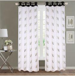 Sheer Curtains Dreamscape, Floral Black Sheer Curtains, black, door