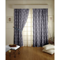 Tiara Classic Readymade Curtain - 32Bluelack, door, grey