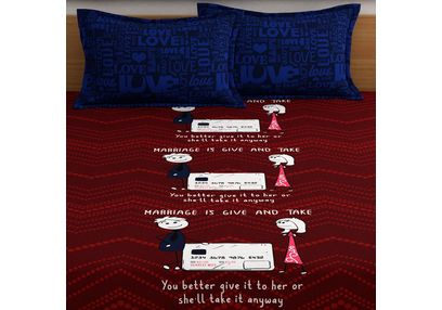 My Room exclusive couple cute bed sheets with funny quotes & characters, 210TC satin premium bedsheets with 2 pillow covers, queen, (MR03), double, red