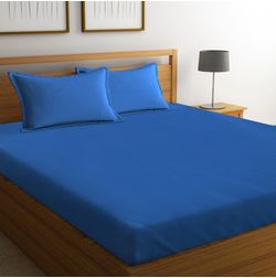 Satin Bed sheet 600 Thread Count with Two Pillowcovers, 100% Cotton, double, blue