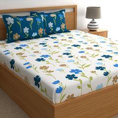 Dreamscape 180TC Twill Blue Floral Double Bedsheets, blue, double