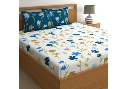 Dreamscape 180TC Twill Blue Floral Double Bedsheets, blue, double
