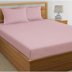 Satin Stripe Bed sheet 220 Thread Count with Two Pillowcovers, 100% Cotton, pink, double