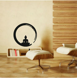 Kakshyaachitra Buddha in Meditation within Enso Wall Stickers For Bedroom And Living Room, 48 48 inches
