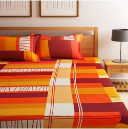 Dreamscape 100% Cotton 144TC One Bed sheet With Two Pillow Covers, double, red