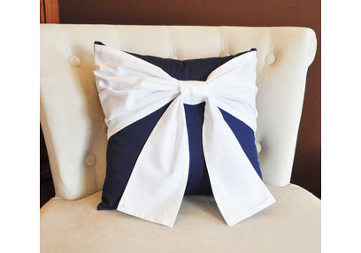 Bow Cushion Cover MYC-55, pack of 1, blue