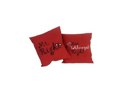 Mr & Mrs Cushion Cover MYC-81, pack of 2, red