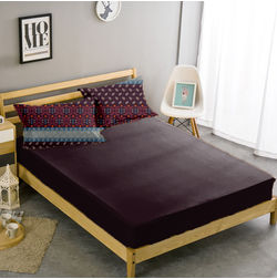 Double Bed Sheet With Two Pillow Covers BS-34, maroon, double
