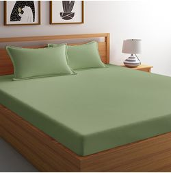 Satin Bed sheet with Two Pillowcovers, 100% Cotton 500 Thread Count, double, green