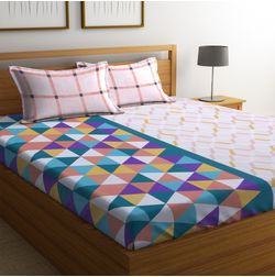 100% Cotton Bedsheets For Double Bed With 2 Pillow Covers, Dreamscape 140 TC Geometric Printed Bedsheet, double, red