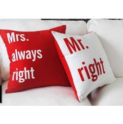 Mr & Mrs Right Cushion Cover MYC-71, pack of 2, white