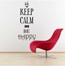Kakshyaachitra Keep Calm and Be Happy Wall Stickers For Bedroom And Living Room, 11 24 inches