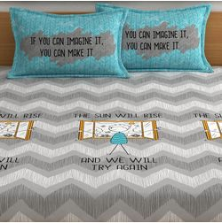 My Room exclusive inspirational quotes bedding with vector characters, 210TC satin premium bedsheets with 2 pillow covers, queen, (MR16), double, grey