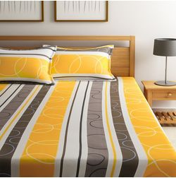 Dreamscape 100% Cotton 144TC One Bed sheet With Two Pillow Covers, double, yellow