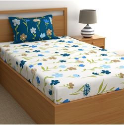 Dreamscape 180 TC Twill Blue Floral Single Bedsheets, blue, single