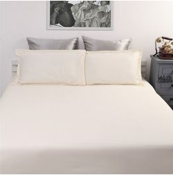 Satin Bed sheet 500 Thread Count with Two Pillowcovers, 100% Cotton, double, cream