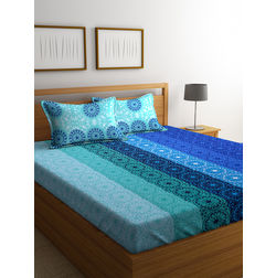 100% Cotton Bedsheets For Double Bed With 2 Pillow Covers, Dreamscape 140 TC Floral Printed Bedsheet, blue, double