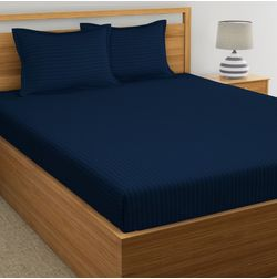 Satin Stripe Bed sheet 220 Thread Count with Two Pillowcovers, 100% Cotton, navy blue, double
