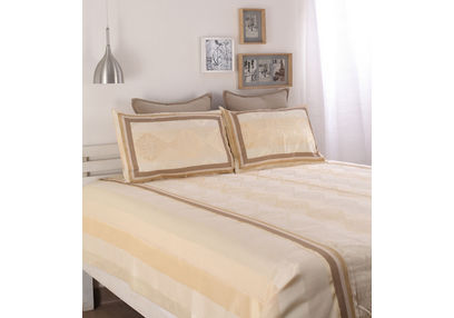 Dreamscape Polycotton Beige Damask Bedcover, without pillow cover, beige