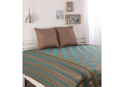 Dreamscape Polycotton Green Damask Bedcover, with 2  pillow covers, green