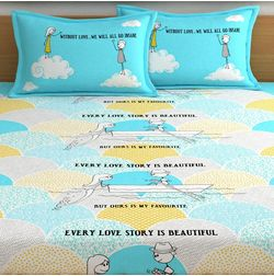 My Room exclusive lover themed romantic bed sheets with quotes & characters, 210TC satin premium bedsheets with 2 pillow covers, queen, (MR07), double, blue