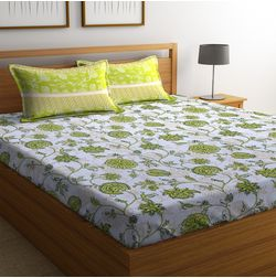 100% Cotton Bedsheets For Double Bed With 2 Pillow Covers, Dreamscape 140 TC Floral Printed Bedsheet, double, white