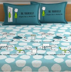 My Room exclusive inspirational quotes bedding with vector characters, 210TC satin premium bedsheets with 2 pillow covers, queen, (MR14), double, blue