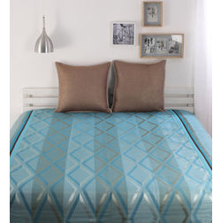 Dreamscape Polycotton Blue Geometric Bedcover, without pillow cover, blue
