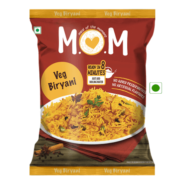 Veg Biryani Pouch (Serves 1) 73g, Ready to eat meal, MOM Meal of the Moment