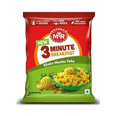 Khatta Meetha Poha Pouch (Serves 1) 60g, Ready to eat meal, MTR Foods
