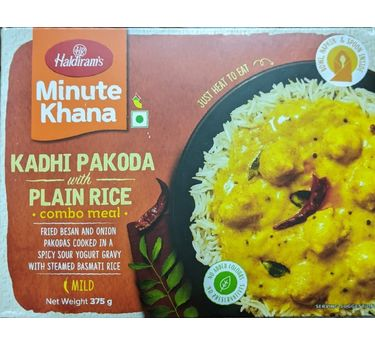 Kadhi Pakoda with Plain Rice Combo Meal 300g, Haldirams Minute Khana, Heat to eat