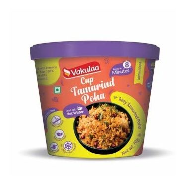 Cup Tamarind Poha (Serves 1) 70g, Ready to eat meal, Vakulaa