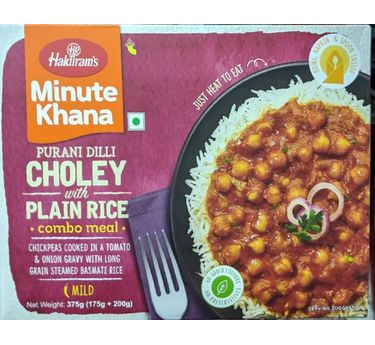 Choley with Plain Rice Combo Meal 300g, Haldirams Minute Khana, Heat to eat