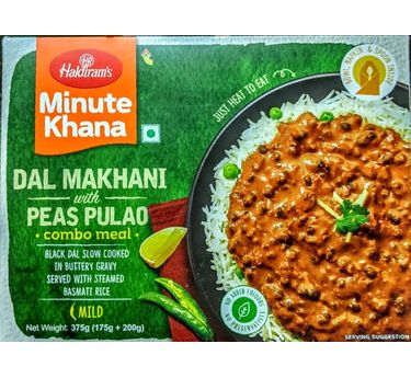 Dal Makhani with Peas Pulao Combo Meal 300g, Haldirams Minute Khana, Heat to eat