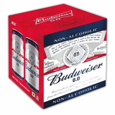 Budweiser 0.0 Non Alcoholic Beer Pouch, 4pcs x 330 ml