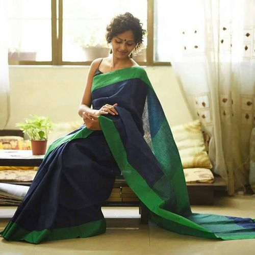 Pure Linen Saree with Contrast Border 2