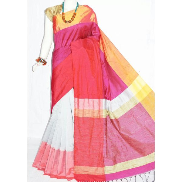 Mahapar Cotton Silk Saree 6.3 metre length with Blouse Piece 14