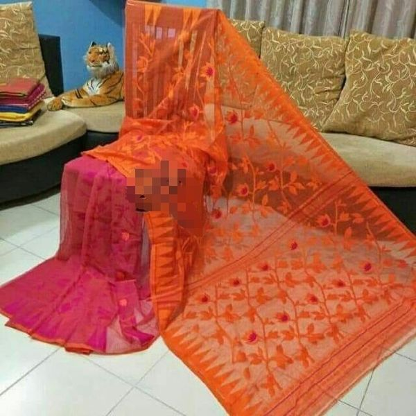 Bengal Handloom Jamdani Sarees with intricate designs Directly from Weaver 5.5 Metre WITHOUT Blouse Piece 1
