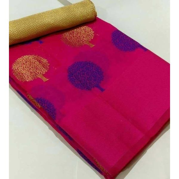 Banarsi Art Silk Saree with Tree Weave Design 6