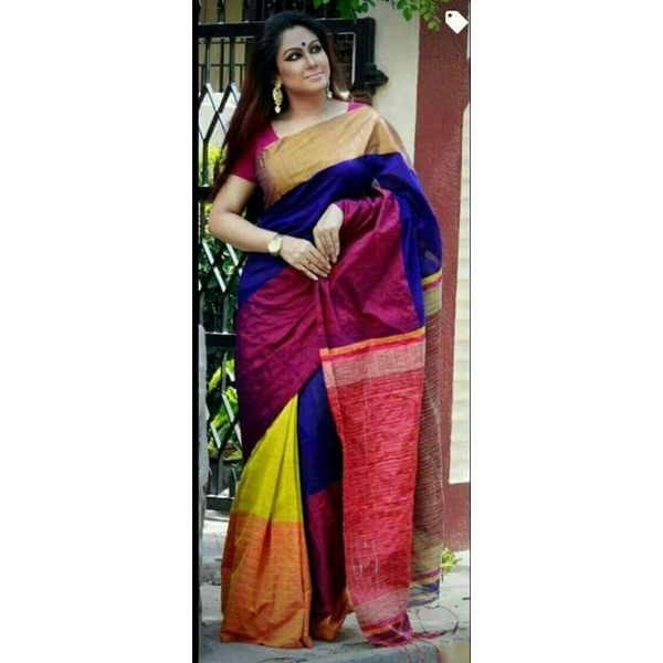 Mahapar Cotton Silk Saree 6.3 metre length with Blouse Piece 6