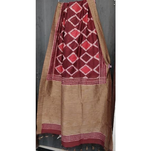 Hand Block Printed Cotton Chanderi Sareewith geecha border 11