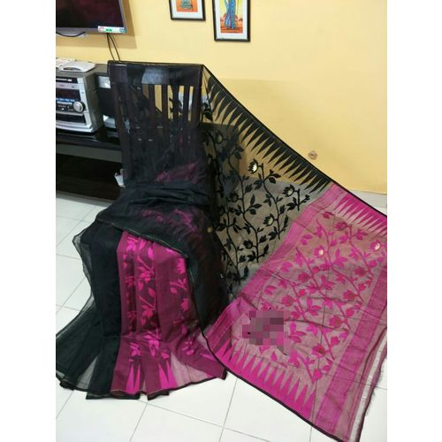 Bengal Handloom Jamdani Sarees with intricate designs Directly from Weaver 5.5 Metre WITHOUT Blouse Piece 16