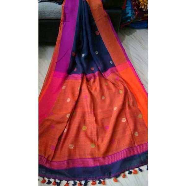 Linen By Linen Ball Butta Jamdani Saree 5.5 Metre with 80cm Blouse Piece 1
