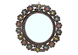 Fab Handicraft Wooden Mirror Decorative Mirror (Round)