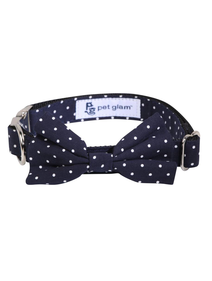 Pet Glam Bow Tie-Polka Dots-Medium to Large Size Plain Dog Collar Charm