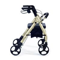 Comodità Prima Heavy-Duty Rolling Walker Rollator with Comfortable 15-Inch Wide Nylon Seat,  metallic graphite