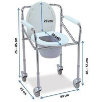 Aluminium Commode chair with wheels (696L)