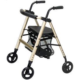 Aluminium foldable walker / rollator (M200), metallic champagne